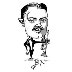 Caricature of Bix Beiderbecke